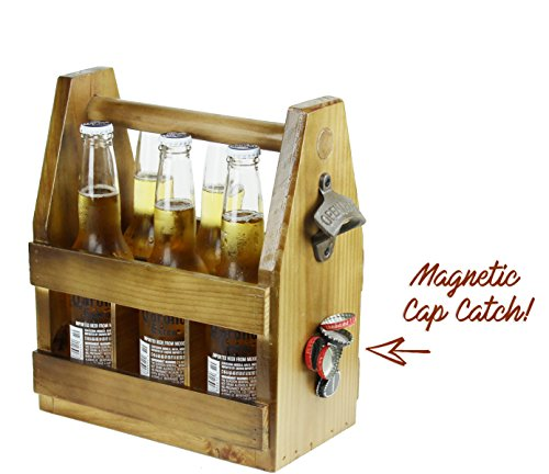 Teikis Wooden Beer Carrier with Bottle Opener and Magnetic Cap Catch by TeiKis