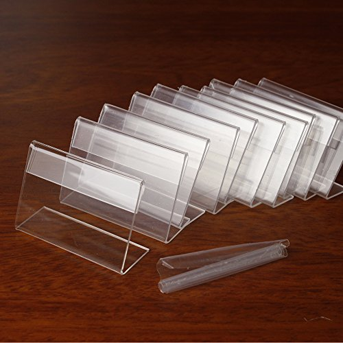 Melleco 30pcs Sign Display Holder Price Name Card Tag Label Counter Top Stand Case 7cm x 4cm (Holder Price Label)