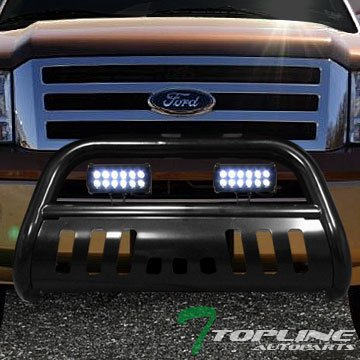 Topline Autopart Black Bull Bar Brush Push Bumper Grill Grille Guard With Skid Plate + 36W Cree LED Fog Lights For 04-17 Ford F150 / 03-14 Expedition ; Lincoln Navigator / 06-08 Mark LT - Ford Skid Plate