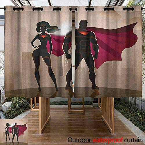 AndyTours Outdoor Window Curtains,Superhero,Super Woman and Man Heroes in City Solving Crime Hot Couple in Costume,for Porch&Beach&Patio,K140C115 Beige Brown Magenta
