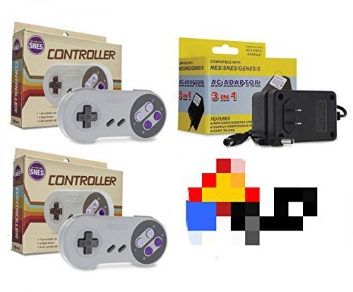 Video Game Accessories SNES Bundle: 2 Classic Controllers + AC Adapter Power Cord (Super Nintendo)