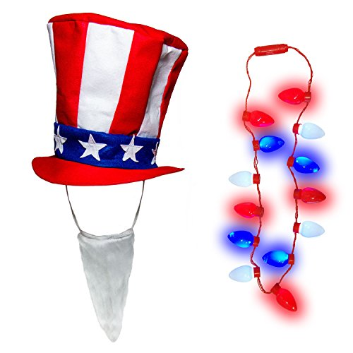 Patriotic 4th July Stars Stripes Uncle Sam Top Hat Beard LED Bulb Necklace Set
