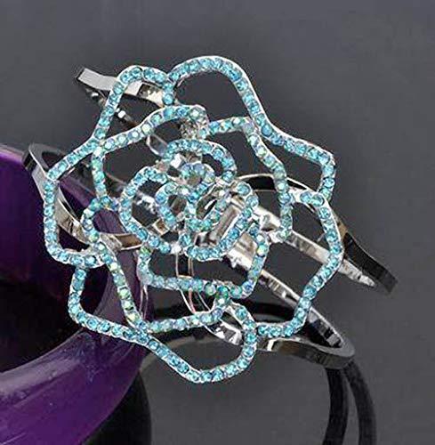 Silvertone Blue Aurora Borealis Rhinestone Flower Hinged Clamper Bracelet