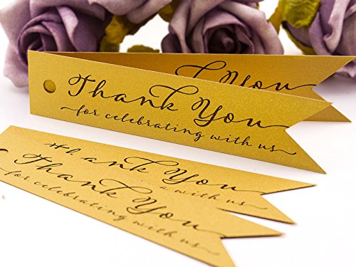 Summer-Ray 100pcs Mini Pennant Flag Shimmered Gold Wedding Favor Gift Tags Thank You for Celebrating with Us
