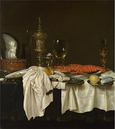 Talking Lobster - Perfect Effect Canvas ,the Replica Art DecorativeCanvas Prints Of Oil Painting 'Willem Claeszoon Heda,Still Life With A Lobster,1650-1659', 24x27 Inch / 61x68 Cm Is Best For Game Room Decoration And Home Decoration And Gifts
