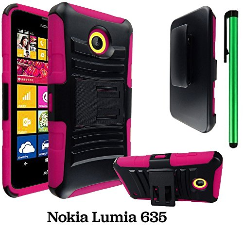 Phone Nokia Stylus (Premium UCASE With Kickstand Cover Case For Nokia Lumia 635 (US Carrier: T-Mobile, MetroPCS, and AT&T) + 1 of New Assorted Color Metal Stylus Touch Screen Pen (PINK Heavy Duty Holster Case))