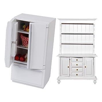 Amazon.es: Baoblaze Moda Muebles en Miniatura Gabinete y Nevera ...