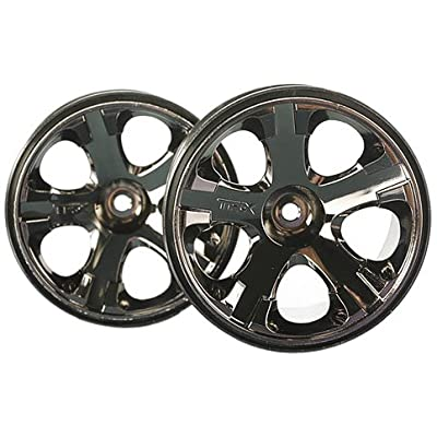 "Traxxas 5576A All-Star 2.8"" Black-Chrome Wheels (nitro rear/ electric front) (pair): Toys & Games"