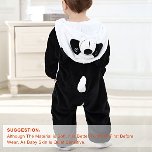 MICHLEY Unisex Baby Spring Hooded Flannel Romper Panda Style Outfits Panda-80cm