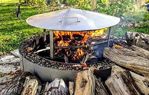 Fire Pit Metal Heat Shield Deflector Frame Cover 37 Dia Spark Screen Garden Outdoor Amazon Com