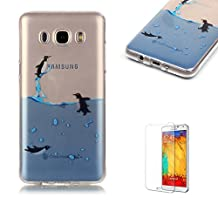 Samsung Galaxy S5 Case [with Free Screen Protector], Funyye Ultra Thin Slim Soft Transparent TPU Rubber Silicone Gel Bumper Colourful Pattern Protective Case Cover Skin for Samsung Galaxy S5 - Swimming Penguins