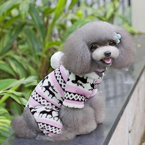Product image of HP95(TM) Small-Size Dog Jumpsuit, Pet Cartoon Printed Velvet Pajamas Small Dog Cat Jumpsuit Coat Sweater Clothes (Pink, XXL (Length:15.8