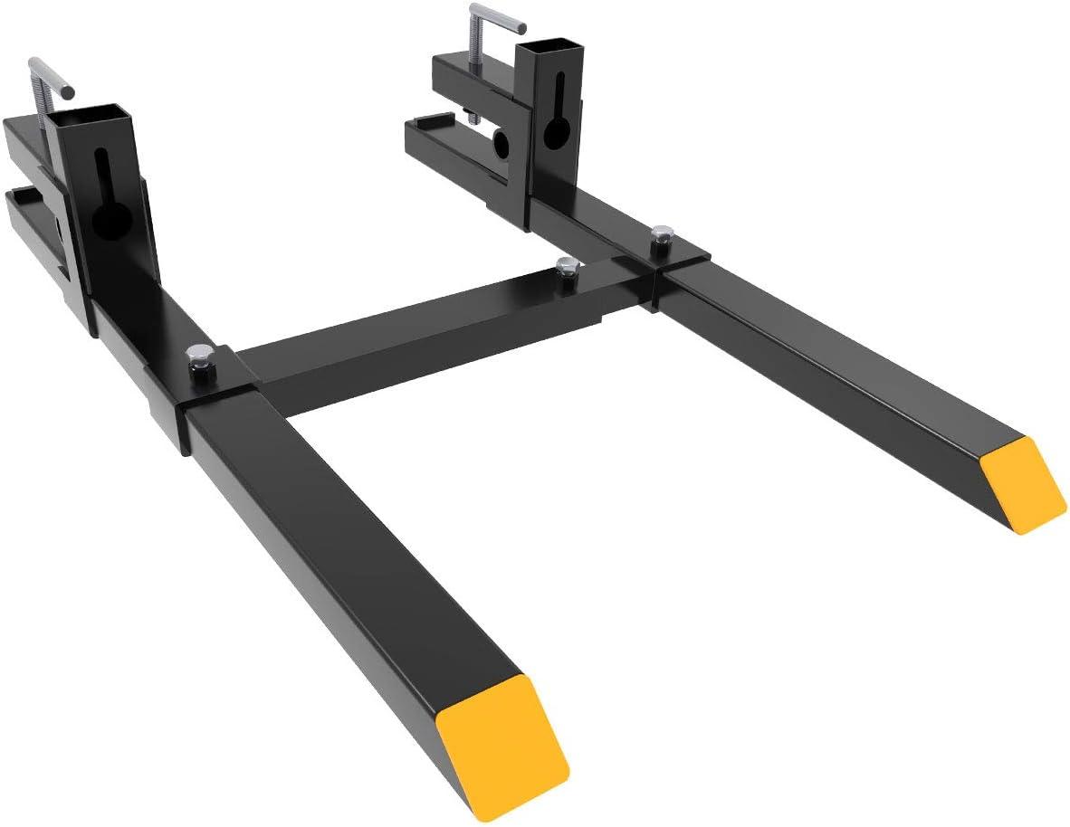 1500Lbs Tractor Steel Pallet Forks for Skid Steer Bucket 60 W//Stabilizer Bar