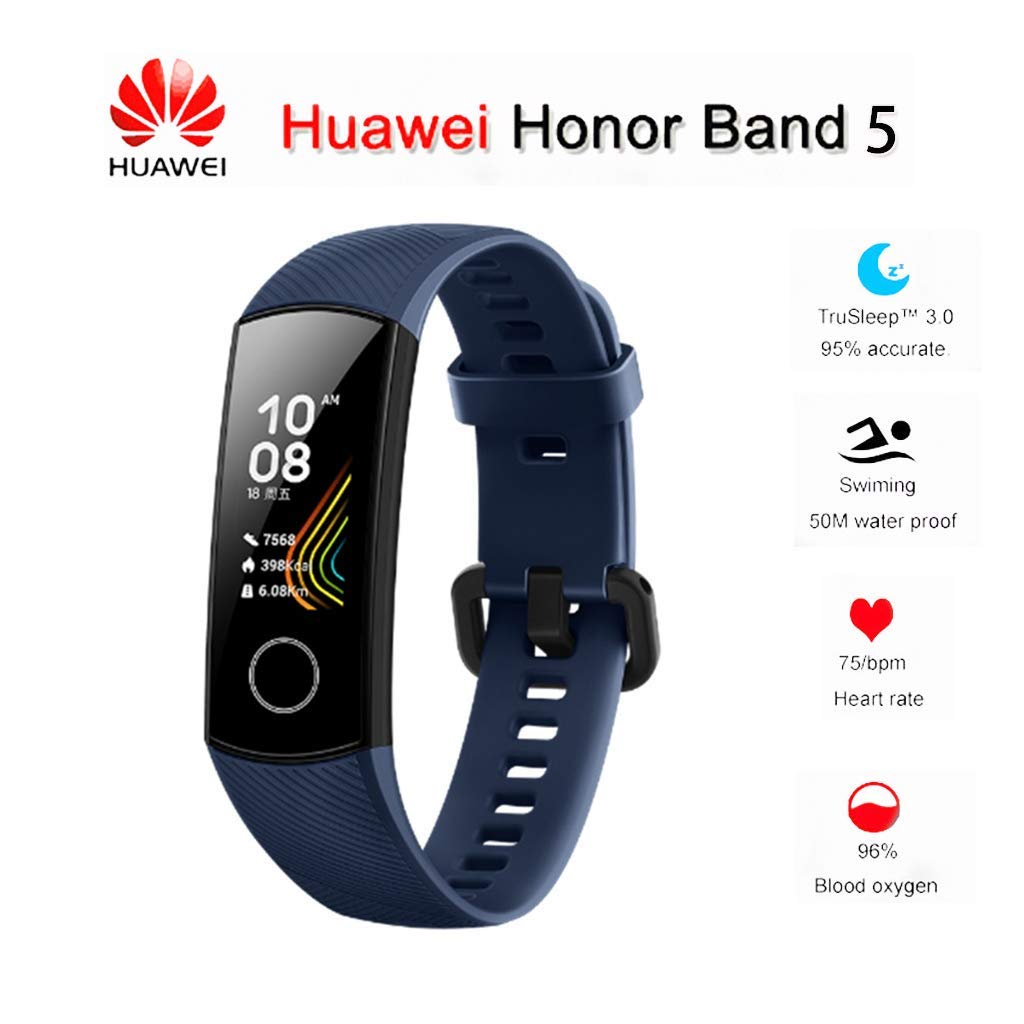 Huawei Honor Band 5 0.95'' Full Touch AMOLED Color Screen Smart Bracelet Heart Rate Monitor Sleep Monitor Blood Oxygen Monitor Home Button All-in-One Activity Tracker GPS 5ATM Waterproof (Dark Blue) by Sonmer