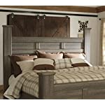 FurnitureMaxx Juararoy Casual Dark Brown Color Replicated Rough-Sawn Oak Bed Room Set, King Poster Bed, Dresser, Mirror…