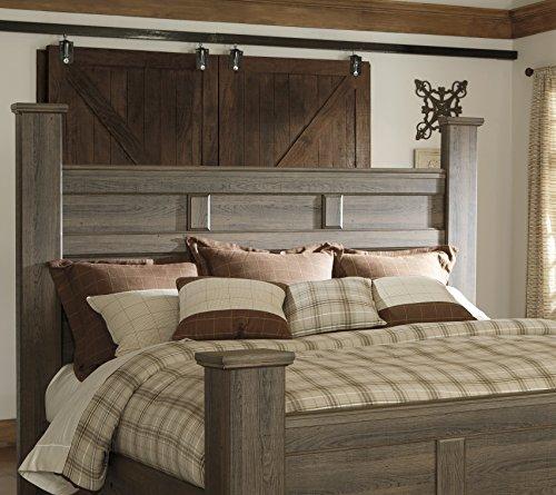FurnitureMaxx Juararoy Casual Dark Brown Color Replicated Rough-Sawn Oak Bed Room Set, King Poster Bed, Dresser, Mirror…
