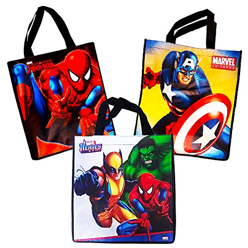Marvel Avengers Tote Bags Value Pack -- 3 Reusable Tote Party Bags (Featuring Captain America, Thor, Iron Man, Hulk and -