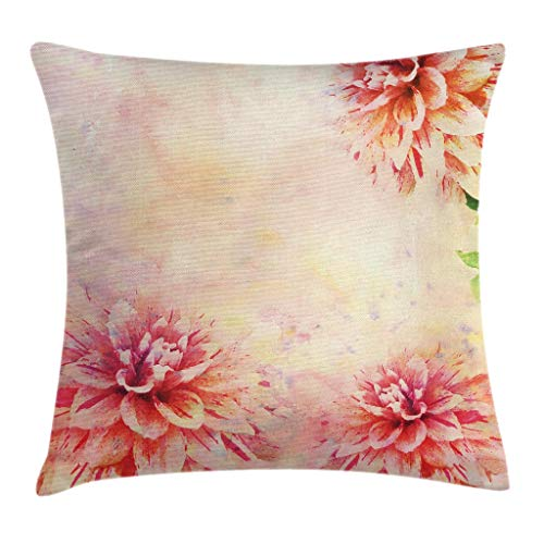 """Ambesonne Dahlia Flower Throw Pillow Cushion Cover, Stained Vintage Dahlia Roots Herbs Aged Murky Design Art Print, Decorative Square Accent Pillow Case, 24"""" X 24"""", Pink Orange"""
