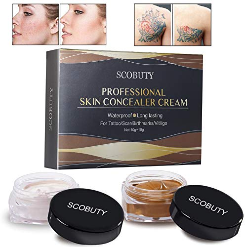 Tattoo Concealer, Concealer To Cover Tattoo/Scar/Birthmarks/Vitiligo, Waterproof Concealer, Professional Waterproof Tattoos Cover Up Makeup Concealer Set (Tattoo Concealer) (Best Body Makeup For Scars)