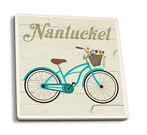 (Lantern Press Nantucket, Massachusetts - Beach Cruiser and Basket (Set of 4 Ceramic Coasters - Cork-Backed,)