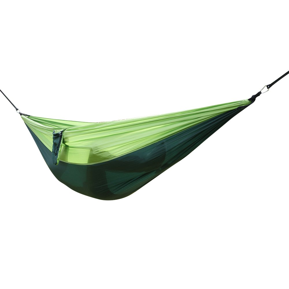 Bright Color Patchwork Pattern Parachute Fabric Double Travel Camping Hammock Comfort for Indoor or Outdoor-Tropical [US Stock] (Dark Green & Green)