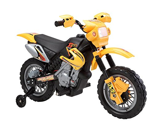 Kinderfahrzeug - Elektro Cross Kindermotorrad - 6V4,5Ah - Neuheit - 6V Akku (Grün) Gelb
