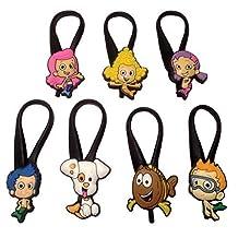 Bubble Guppies Silicone Snap Lock Zipper Pulls 7 Pcs Set #1