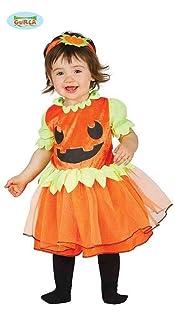 Guirca Costume da Zucca per Neonate 6/12 Mesi, Colore Arancio e Verde, da 6 a 12, GU_85825