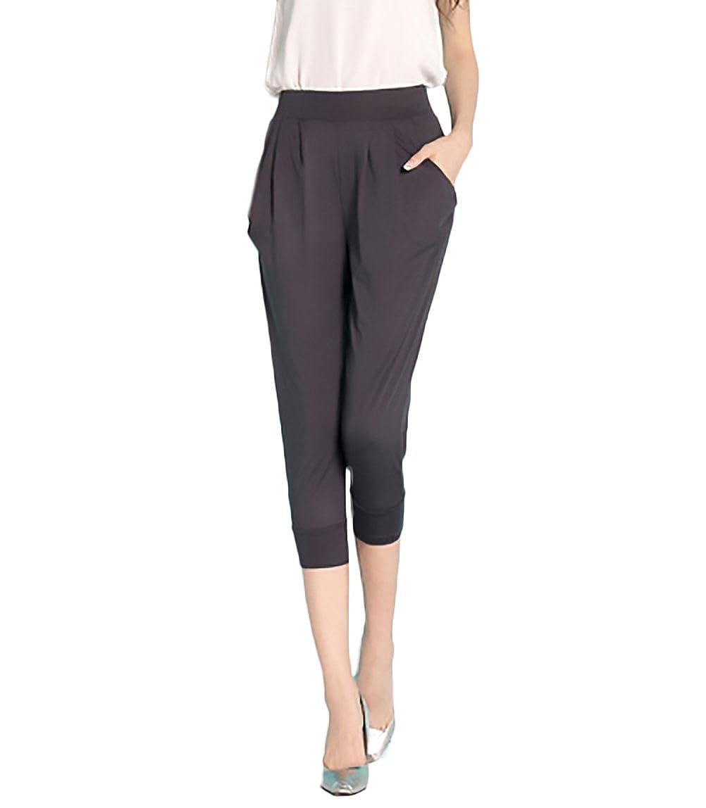 29757a7b2fce47 Pantaloni Harem Donna Con Elastico Vita Alta Casual Baggy Comode Taglie  Forti Bermuda Pantalone Puro Colore Abbigliamento Ragazza: Amazon.it:  Abbigliamento