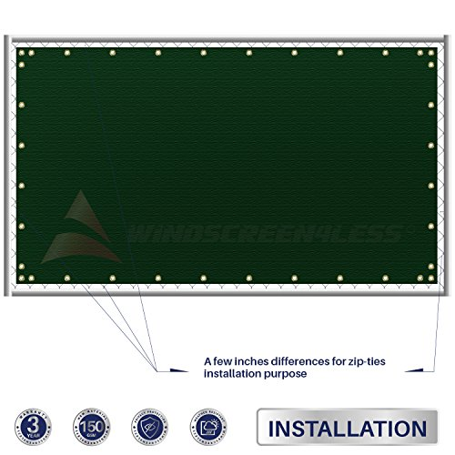 Windscreen4less Heavy Duty Privacy Screen Fence in Color Solid Green 4' x 50' Brass Grommets w/3-Year Warranty 150 GSM (Customized Sizes Available) by Windscreen4less (Image #4)