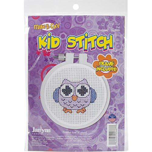 - Janlynn Kid Stitch 11 Count Owl Mini Counted Cross Stitch Kit, 3-Inch
