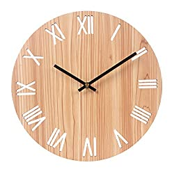 Vitaa 12 Inch Retro Wooden Wall Clock,Silent Non Ticking Decorative Wall Clock,Vintage Rustic Country Tuscan Style Round Wall Clock,Quartz Battery Operated (404)