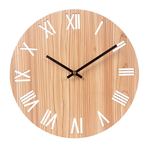 Cheap Vitaa 12 Inch Retro Wooden Wall Clock,Silent Non Ticking Decorative Wall Clock,Vintage Rustic Country Tuscan Style Round Wall Clock,Quartz Battery Operated (404)