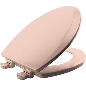 BEMIS 1500EC 063 Toilet Seat with Easy Clean & Change Hinges, ELONGATED, Durable Enameled Wood, Venetian Pink