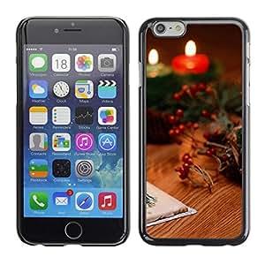 Be Good Phone Accessory // Dura Cáscara cubierta Protectora Caso Carcasa Funda de Protección para Apple Iphone 6 // Christmas Candles & Cards