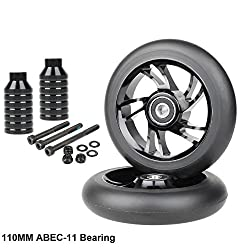 Kutrick Complete 110mm 2pcs Pro Scooter Wheels With Complete 2pcs Neo Pro Stunt Scooter Pegs Kit