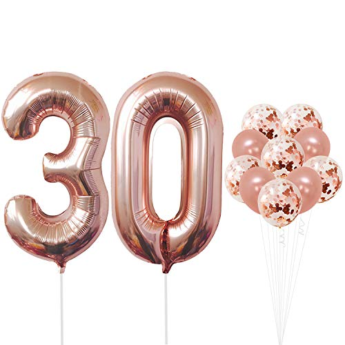 Rose Gold 30th Birthday Decorations - Pack of 21 | Large Mylar Foil Balloon and Confetti Latex Balloons | Real Rose Gold Party Supplies | Great for 30 Years Birthday, Anniversary, Home Office Decor