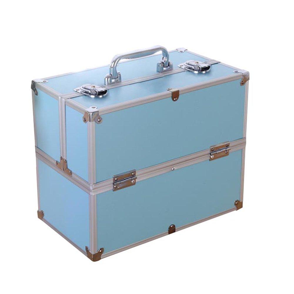 MCTECH® Estuche cosmético Beauty Case Alu SuitCase Estuche Maletín para maquillaje Estuche para cosméticos, 340 * 210 * 290mm ( azul)