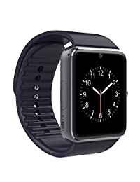 Qiufeng GT08 Smart Watch Smartwatch Bluetooth Sweatproof Phone with Camera TF/SIM Card Slot for Android and IPhone Smartphones for Kids Girls Boys Men Women(Black)