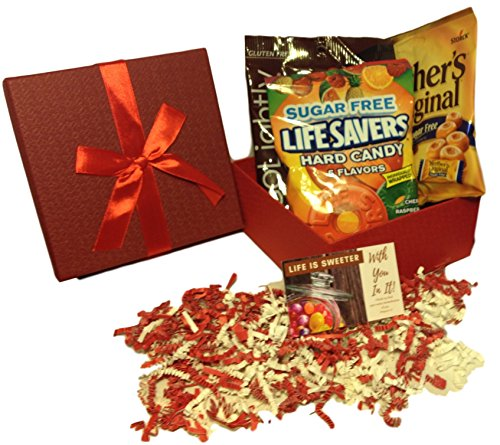 Sugar-Free Candy Set (Small: Chocolate Fruity Caramel Assortment, Red Ribbon Holiday Box and Christian Message Card (5-Ct)) (Long Distance Care Package)
