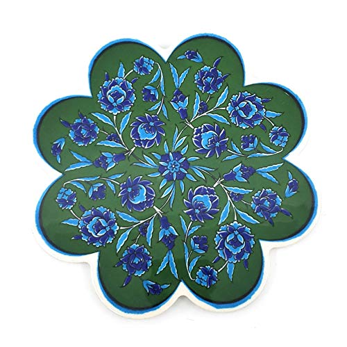 Handmade Turkish Ceramic Pottery Flower-shape Tile Trivet (Trivet F) ()