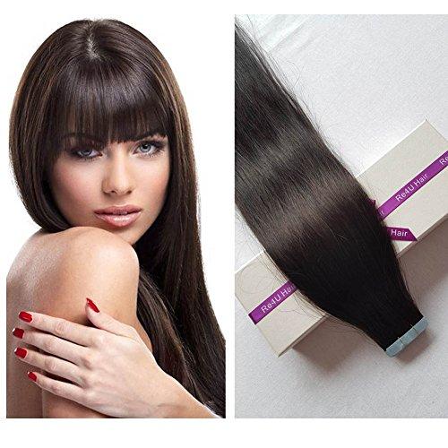 "Beauty : Re4U Seamless Skin Weft European Tape in Hair Extensions Natural Black #1B 100% Silky Virgin Remy Tape in Human Hair Extensions (16""-20pcs 30g/pack)"