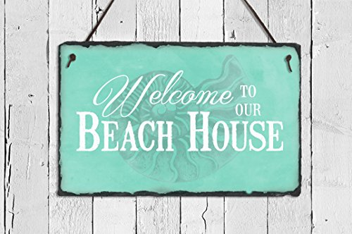 (Sassy Squirrel Handcrafted and Personalized Slate House Sign - Welcome to The Beach House (12