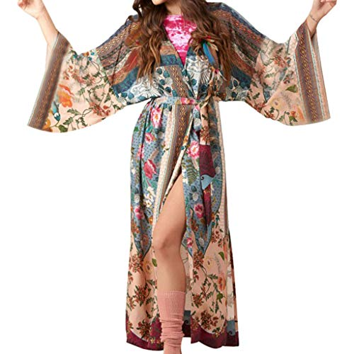 ballboU-Women Beach Swimsuit Cover Up Floral Printed Open Front Cardigan, Long Sleeves Belted Wrap Front Side Split Maxi Robe (Glamour Belted Belt)