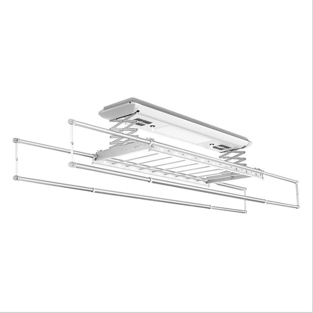 Electric Laundry Drying Rack Ceiling Mounted Clothes Drying Rack with LED Light, Drying Fan, UV Sterilization Remote Control (Color : Silver, Design : 8 crossbars-110v)