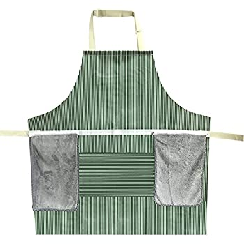 KFSM Kitchen Cooking Apron with Coral Velvet Towels, Professional Waterproof Oxford Cloth Chef Apron for Dishwashing, Baking, Grill, Restaurant Even Garden Craft (Green Stripe)