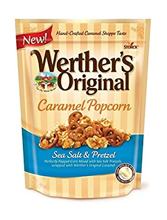 WERTHERS ORIGINAL Caramel Popcorn Sea Salt Pretzel 6 Ounce Bag