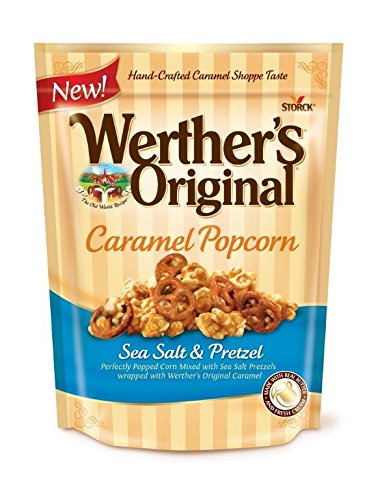 WERTHER'S ORIGINAL Sea Salt and Pretzel Caramel Popcorn, Gourmet Popcorn Bags, Popcorn Lunch Snacks, School Snacks for Kids, 6 Ounce Bag