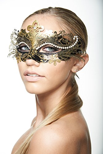 [KAYSO INC Exclusive Eyes of Angel Laser Cut Masquerade Mask, Black & Gold] (Black Masquerade Dress)