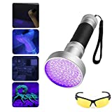 Carejoy UV Black Light Flashlight 100 LED Ultraviolet Black Light Torch with UV Sunglasses Professional Detector for Pets Urine Carpet Stains Bed Bugs